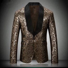 $enCountryForm.capitalKeyWord NZ - 2018 New Men Gold Tuxedo Jacket Luxury Shinny Gold Prom Blazer Stage Costumes For Singers Marriage 4XL Blazer Hombre Slim Fit