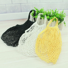 Foldable Flats wholesale online shopping - Simple Mesh String Shopping Bag Reusable Folding Pouch Vegetables Fruit Mesh Net Hand Totes Home Storage Reusable Foldable bag KKA6198