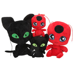 Chinese  cute ladybug cat doll toy solid cartoon anime stuffed cat plush toy car pendant perfect birthday gift for boys girls 30cm 15cm manufacturers