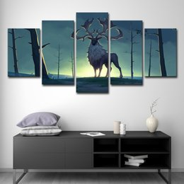 $enCountryForm.capitalKeyWord NZ - HD Printed Abstract Pictures Canvas 5 Panel Anime Animal Deer Forest Landscape Home Decor Wall Art Painting