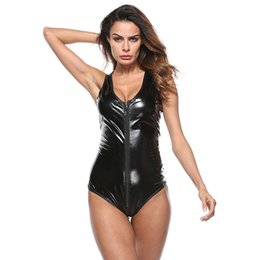 ee96675e75 Sexy Women Wetlook Latex Bodysuits Sleeveless Sexy Clubwear DS Dance Wear  Zipper PU Leather Catsuit WTB2041