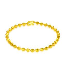 Bracelet en or jaune pur 24 carats Bracelet en perles de roche lisse 5.35g en Solde