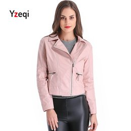 699a5531a21 pink leather jackets plus size 2019 - Yzeqi Leather Jacket Women Autumn  Women Faux Soft Leather
