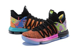 Chinese  New Mens Kevin Durant 10 X Confetti Multicolor Limited Basketball Shoes KD Aunt Pearl Rainbow Colorway China Town Sports Sneakers 7-12 manufacturers