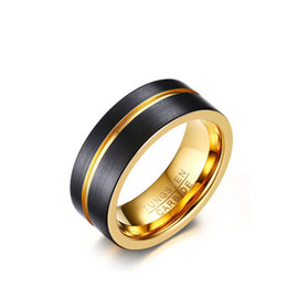 8mm Black Matte Finished Tungsten Carbide Ring Gold Plated Engrooved Fllat Wedding Band