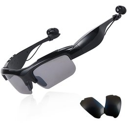 SunglaSSeS phone earphoneS online shopping - Sunglasses Bluetooth Headset Wireless Sports Headphones Sunglass Stereo Handsfree Earphones mp3 Music Player With Retail Package
