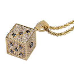 $enCountryForm.capitalKeyWord UK - Iced Out Dice Gold Silver Color Plated Cubic Zircon with 24 Inch Rope Chain Men's Hip hop Jewelry For Gift