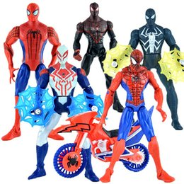 Batman Figure Wholesale Australia - Spiderman Action Figures Cartoons PVC Collectable Model Avengers Civil War Comics Heroes Spider Man for kids Gift Toys with Fittings