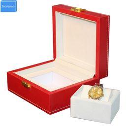 $enCountryForm.capitalKeyWord UK - Luxury big red leather watch box display case Jewelry hour box display promotion, May customize cajas de regalo para relojes