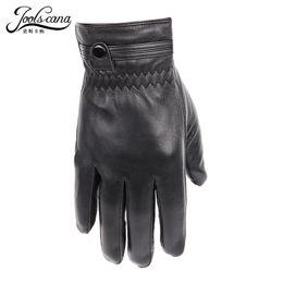 Leather Wrist Gloves Australia - JOOLSCANA leather gloves for men winter autumn fashion Sensory gloves drive outerdoor natural lamb sheepskin wrist with button