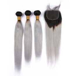 grey ombre hair bundle 2019 - Two Tone Grey Silky Straight 3 Bundles Virgin Hair Weaves With Closure Ombre Color #1B grey Hair Weft Extension With Lac