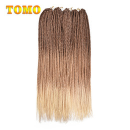 $enCountryForm.capitalKeyWord Canada - TOMO 24 Inch 3x Box Braid Crochet Hair Synthetic Crochet Braids Pure Ombre Braided Brown Blonde Hair Braiding Hair Extensions 22strands pack
