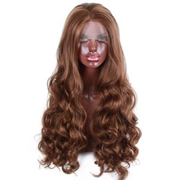 cheap ombre lace wigs UK - Wholesale Factory Cheap Brown Colour Heavy Density 250 % Synthetic Lace Front Wig