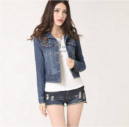 76bd40b2ea7 MALL Women Jeans Jackets Short Tops 2016 Spring Autumn Long Sleeve Denim  Coat Vintage Ripped For Women Clothing chaquetas mujer