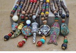 Collana Nepal fatta a mano Buddista Mala Legno ciondolo collana di perle etniche corno pesce lunga dichiarazione gioielli donna uomo