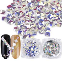 Diamond Uv Australia - 1Box Laser Silver Clear Square Diamond Nail Art Glitter Flake Crystal DIY Tip Tool Manicure 3D UV Gel Polish Jewelry Decor JI191