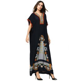 $enCountryForm.capitalKeyWord UK - Cotton Floral Printed Muslims Dress Summer Prom Party Evening Gown Malaysia Islamic Long Robes for Ladies Loose