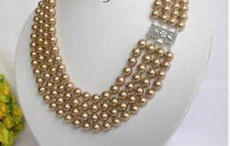 "coffee pearl Australia - 8mm 17"" 4row round coffee south sea shell pearls necklace 925ss"