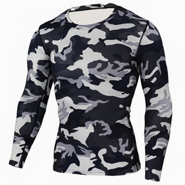 Wholesale Men T shirt Brand Compression Shirt Camouflage Crossfit Fitness T Shirt Men Tights Bodybuilding Workout Tops Base Layer Male