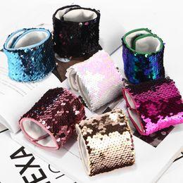 Discount diy mermaid gifts - Magic Sequin Mermaid Bracelet Sequin Wristband bangle Gril DIY Glitter Mermaid Sequin Bracelet Wristband Cuff LC662