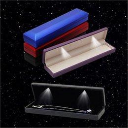 LED Velvet Light Square Fine Jewelry Collana Box lunghe Scatole Box Jewelry Organizer Regali di nozze Confezioni di gioielli Q0461