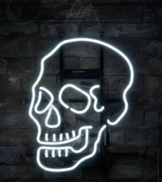 skull bar glasses Australia - 24*20 inches Skull Shape Porcelain Store DIY Glass Neon Sign Flex Rope Neon Light Indoor Outdoor Decoration RGB Voltage 110V-240V