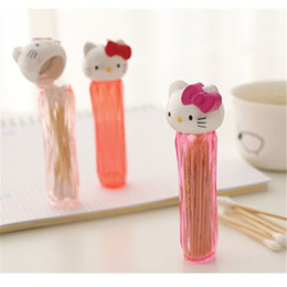 Plastic Toothpick Wholesale Australia - cartoon Cat Toothpicks Holder Cotton Swab Box Cotton Bud Holder Case Table Decorate Storage Box Organizer HHY