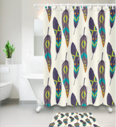 Modern Fabric For Curtains Australia - 3D Polyester Fabric green feather print Shower Curtains with 12 Hooks For Bathroom Decor Modern Bath Waterproof Curtain floor mats sets