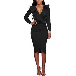 $enCountryForm.capitalKeyWord UK - 2018 New Women Sexy Autumn Dress Frill Long Sleeve Bodycon Midi Dresses V-Neck Gathered Evening Party Dress Vestidos MT1852