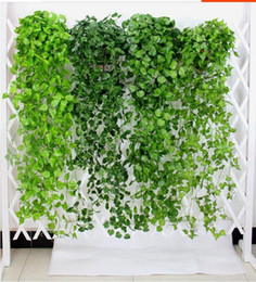 Artificial Plants For Green Walls NZ - 50pcs Artificial Ivy Garland Foliage Green Leaves Fake Hanging Vine Plant for Wedding Party Garden Wall Decoration Home Decor