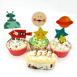 720pcs Birthday Space Dog Cosmic Stars Spaceship Cupcake Topper Pick Kids Party Supplies Favor Cake Decoration