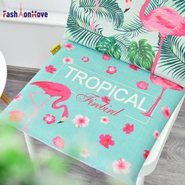 green office chairs Australia - Hot Sale 40x40x4cm Flamingo Printing American Style Soft Comfort Seat Mat Decor for Home Kitchen Office Chair Seat Cushion Pad