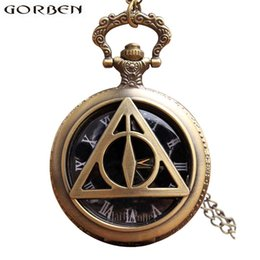 Chinese  Harry Potter Deathly Hallows Antique Pocket Watch Necklace Retro Vintage Quartz Fob Flip Clock With Chain For Men Women Gift manufacturers