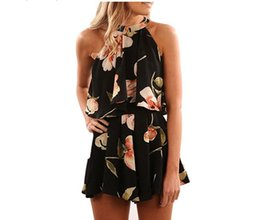 China Summer Sexy Stylish Sleeveless Halter Suit Flower Print 2 Pieces Set Ladies Lacing Divided Shorts & Vest Women Suit supplier ladies stylish short dress suppliers