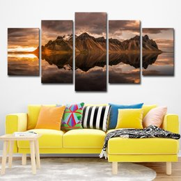 $enCountryForm.capitalKeyWord NZ - Painting Abstract Art Wall Pictures For Living Room Home Decor Canvas Print 5 Panel Rock Mount Reflection Landscape