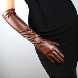 e0d8672148ac Discount women s long gloves leather - Women PU Gloves Emulation Real  Leather 50cm Long Fashion