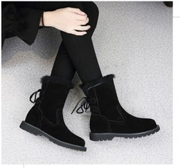 $enCountryForm.capitalKeyWord NZ - 2017 Autumn Winter New Fashion Half Boots Flat Pointy Shoes Lace-Up Snow Boots Winter Warm Martin Boots