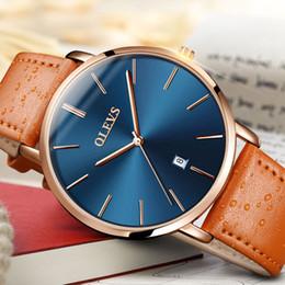 Discount thin wrist watches - Automatic Watches Men Sports Ultra thin Watch OLEVS Wrist watches Quartz Swim Water Resistant Leather Clock erkek kol sa