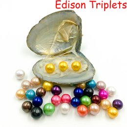 Black pearls jewellery online shopping - 2019 New giant mm Colored Edison big large giant round grade pearls natural Triplets pearls in oyster with vacuum packing DIY Jewellery