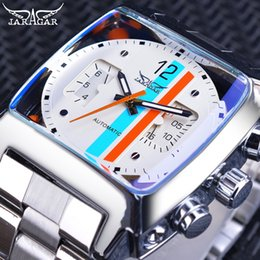 Jaragar fashion luxury watches online shopping - Jaragar Square Fashion Design Stainless Steel Men Mechanical Automatic Sport Watch Top Brand Luxury Luminous Hands