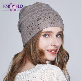 Beanies For Winter Australia - ENJOYFUR Winter Hats for Women Warm Wool Beanies Hat 2018 New Fashion Double Lining Caps With Rhinestones S18101708