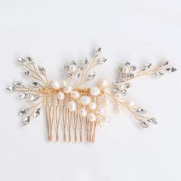 $enCountryForm.capitalKeyWord UK - tGold Floral Hair Accessories Wedding Combs Handmade Tiara Bridal Hair Comb Women Pearl Hair Jewelry