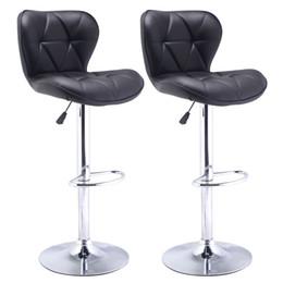 Набор из 2 барных стульев Кожа Современный гидравлический поворотный столовый стул Barstool Black