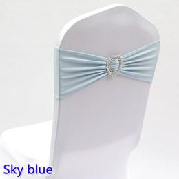$enCountryForm.capitalKeyWord NZ - Sky blue colour wedding chair sash with heart buckle lycra band spandex sash bow tie For Wedding Banquet Decoration for sale