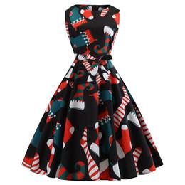 $enCountryForm.capitalKeyWord NZ - Hepburn Christmas Evening Ball Gowns for Girls Sleeveless Tunic Dress with Bow Vintage Print Black Dresses
