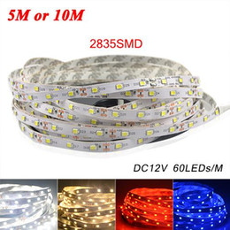 led red pack NZ - 5M or 10M  Pack 2835 SMD More Brighter Than 3528 5050 SMD LED Strip light DC 12V 60LEDs M Indoor Decorative Tape White Blue Red