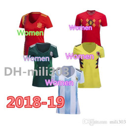 China WOMEN 2018 World Cup Colombia Girl soccer Jersey Colombia Lady Spain Argentina Japan Belgium Mexico Germanyes Soccer uniform Football Shirt supplier women football uniform suppliers