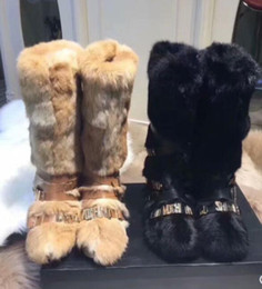 Rabbit fuR heels online shopping - Women winter Boots Designer original ins hot Boutique Fashion Brand sexy noble Rex rabbit fox fur Genuine Leather luxury fur Boot