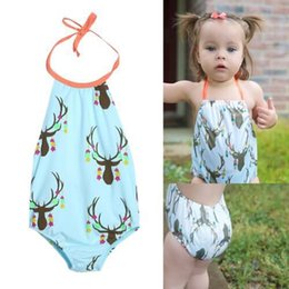 dce5faed681ab Fashion girls boys kids deer printing fancy swimmable one-pieces bikini  swimwear swimsuit baby girls bathing suit
