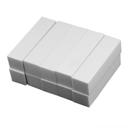 white nail blocks 2019 - DIY Nail Art 10pcs Sponge Buffer Block for UV Gel Nail Polish Manicure Pedicure White Buffers Recommend cheap white nail